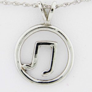 White Gold Circle Music Note Pendant