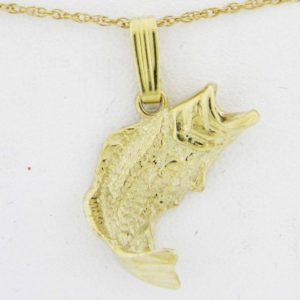 Yellow Gold Bass Pendant (facing right)