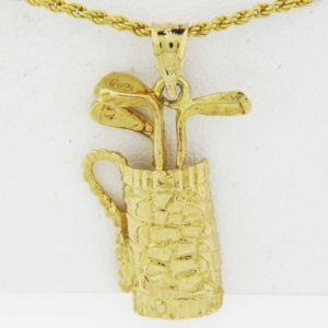 Yellow Gold Golf Clubs Custom Pendant