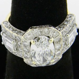 Yellow Gold Diamond Halo Custom Ring (top front view)
