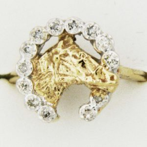 Yellow Gold Horse and Diamond Horseshoe Custom Ring