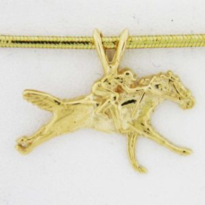 Yellow Gold Horse and Jockey Custom Pendant