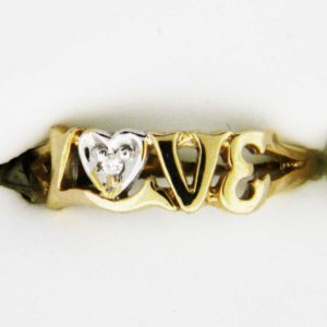 Yellow Gold Love with Diamond Custom Ring
