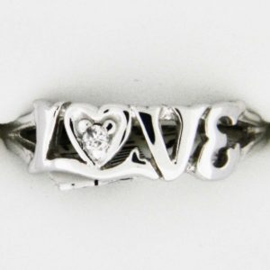 White Gold Love with Diamond Custom Ring