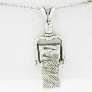 White Gold Microphone Pendant (square)