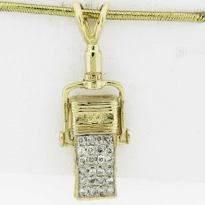 Yellow Gold Microphone Pendant with Diamonds