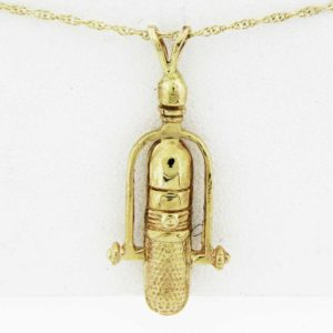 Yellow Gold Microphone Pendant (thin rounded)