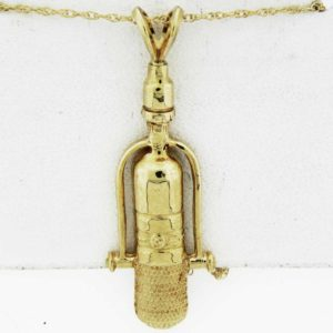 Yellow Gold Microphone Pendant (rounded)