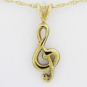 Yellow Gold Treble Clef Pendant (rounded)