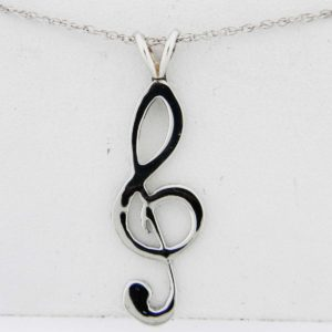 White Gold Treble Clef Pendant (smooth)