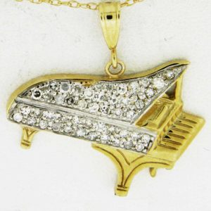 Yellow Gold Grand Piano Pendant with Diamonds