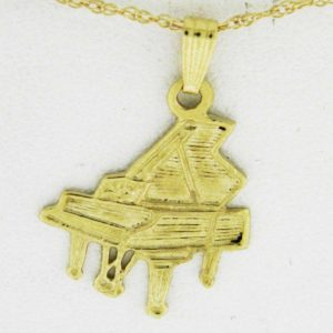 Yellow Gold Grand Piano Pendant (textured)