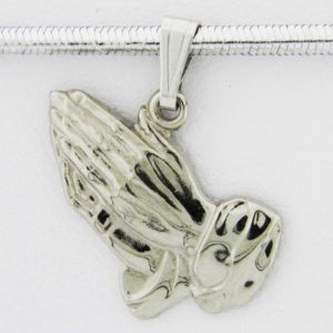 White Gold Praying Hands Pendant (defined)