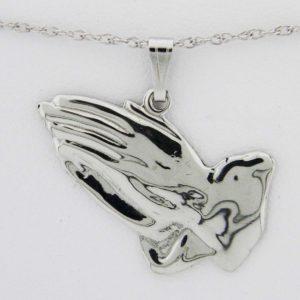 White Gold Praying Hands Pendant (smooth)