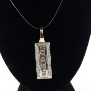 Yellow Gold Rectangle Diamond Custom Pendant