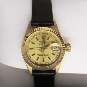 Gold Rolex with Oyster Face - Leather Band
